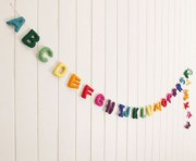 Felt Alphabet Garland Rainbow colours